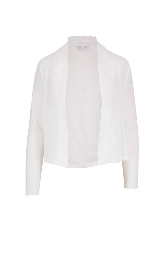 Kinross White Linen Open Front Cardigan