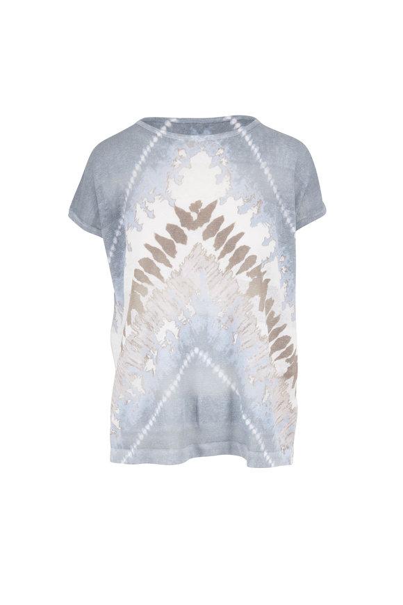 Kinross Opal Multi Linen Tie Dye Cap Sleeve Knit T-Shirt