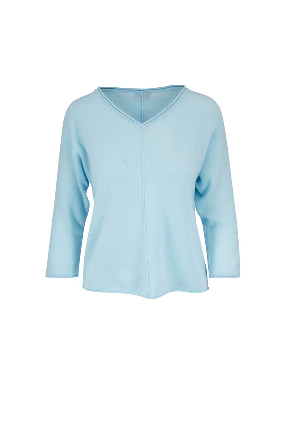 Kinross Oasis Cashmere Seamed Front Sweater