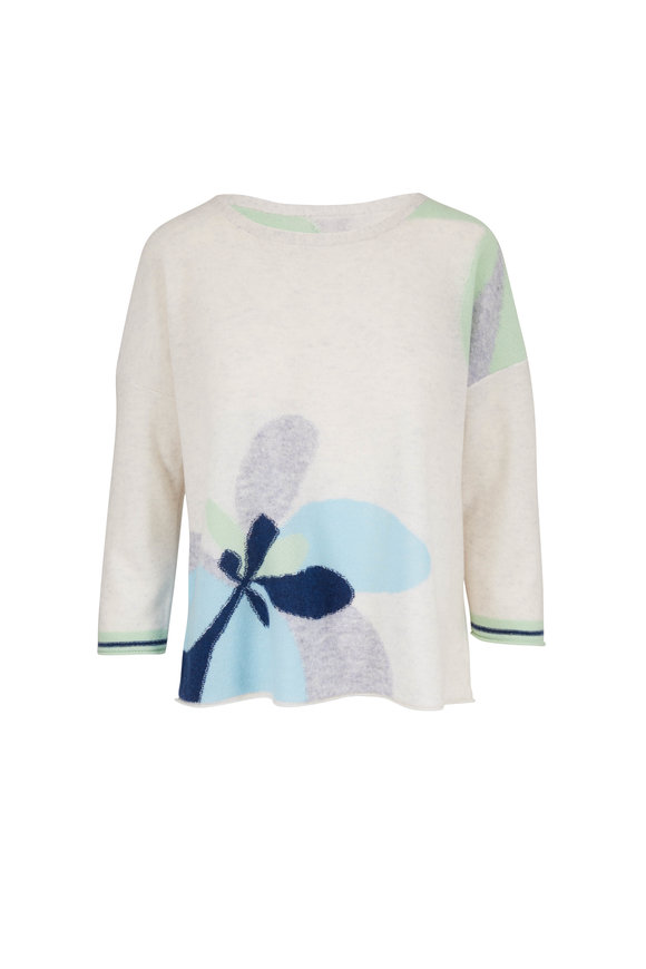 Kinross Whisper Multi Cashmere Floral Intarsia Sweater