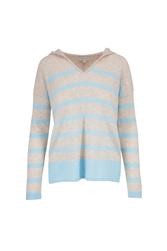 Kinross Desert & Oasis Cashmere Striped Hooded Sweater