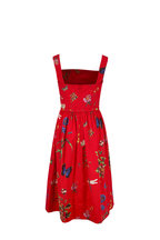 Oscar de la Renta - Scarlett Garden Print Sleeveless Belted Dress