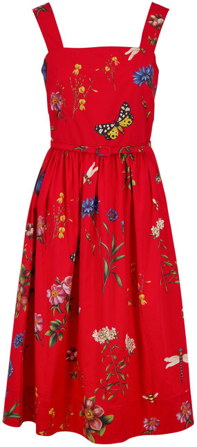 Oscar de la Renta Scarlett Garden Print Sleeveless Belted Dress