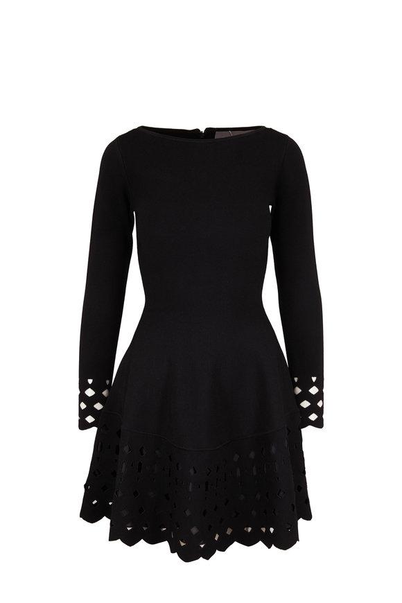 Lela Rose Black Knit Scallop Long Sleeve Dress