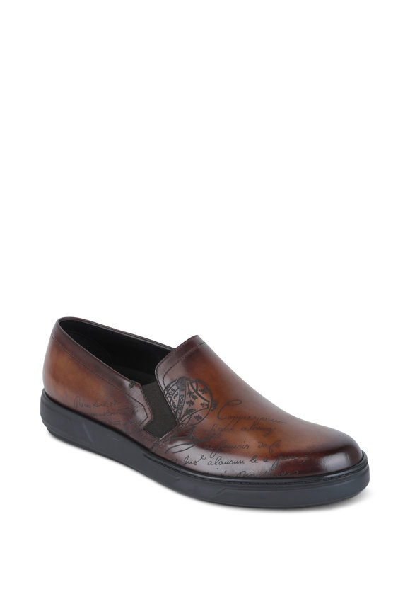 Berluti  Tibeta Scritto Brown Leather Slip-On Sneaker
