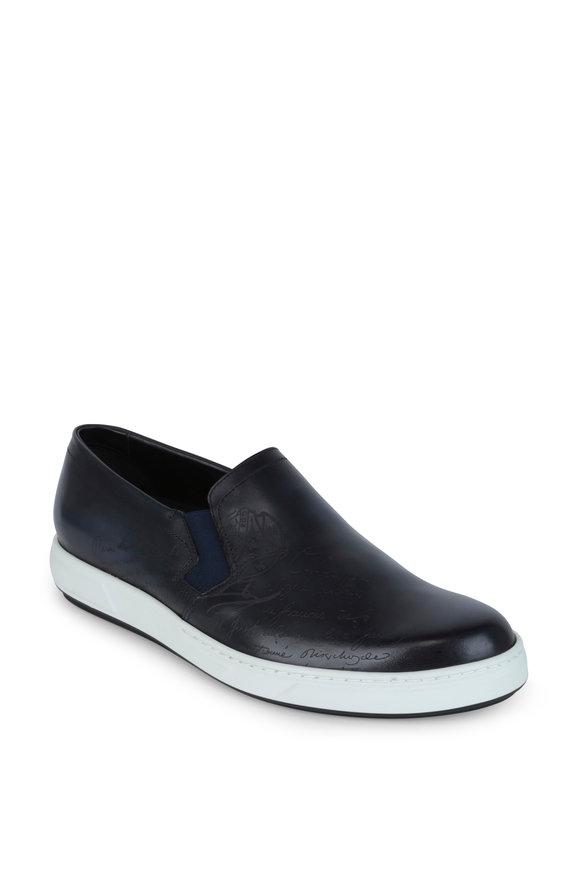 Berluti  Tibeta Scritto Blue Leather Slip-On Sneaker