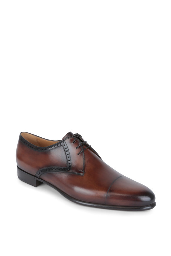 Berluti Galet Brown Leather Cap-Toe Derby Shoe