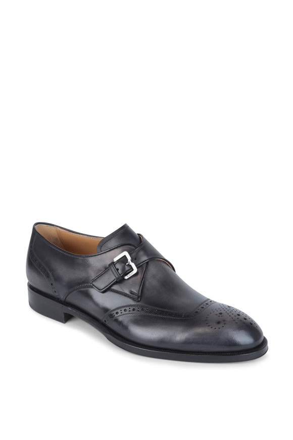 Berluti Dune Gray Leather Wingtip Monk Shoe