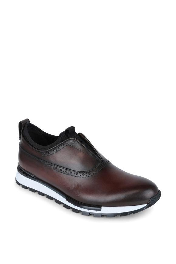 Berluti Fast Track Brown Leather Slip On Sneaker