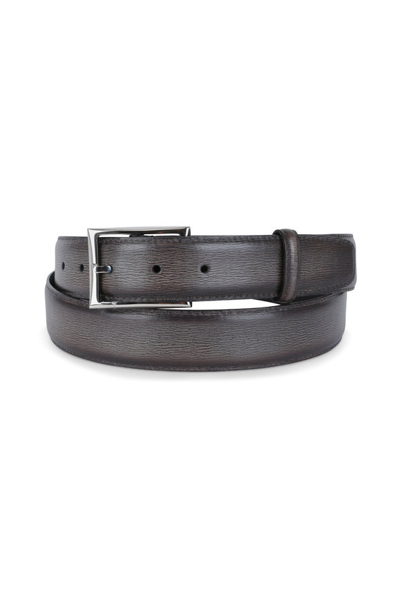 Berluti Ice Brown Grained Leather Belt