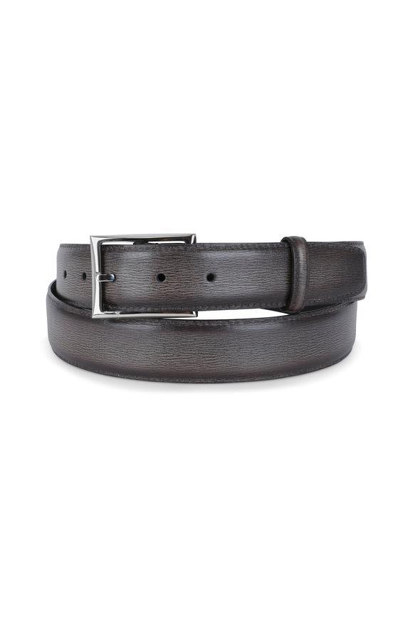 Berluti Ice Brown Grained Leather Belt