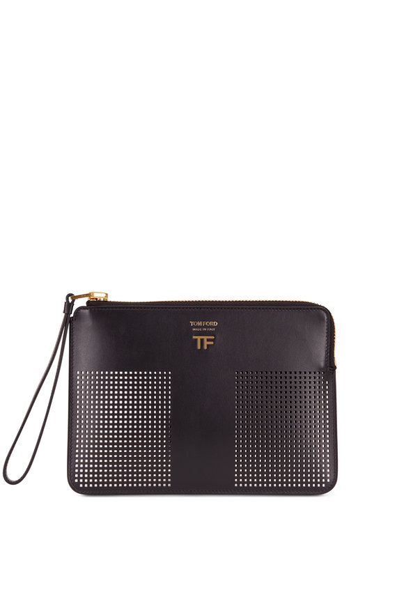 Tom Ford Black Perforated Leather Small Zip Pouch