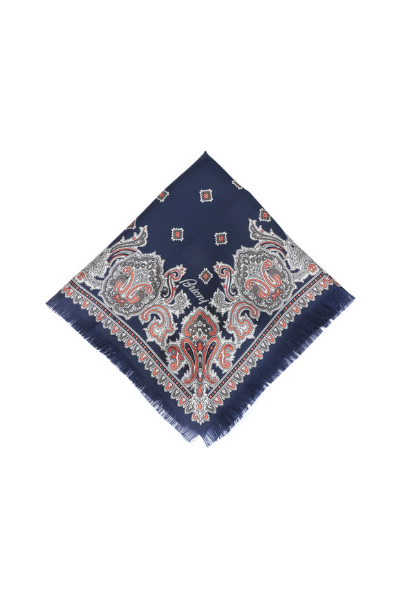 Brioni Navy Blue Paisley Silk Pocket Square