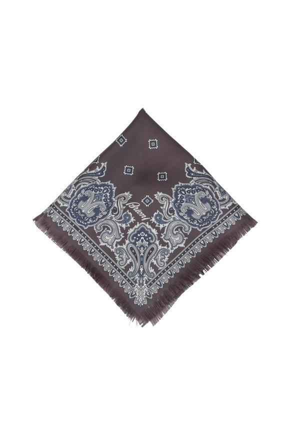 Brioni Brown Paisley Silk Pocket Square