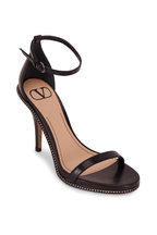 Valentino Garavani - Star Black Leather Crystal Midsole Sandal, 105mm
