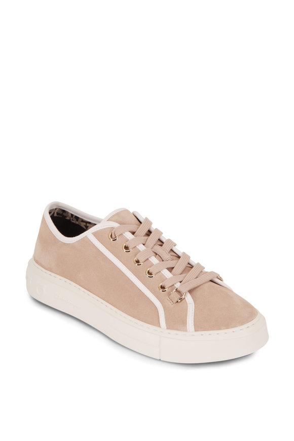 Salvatore Ferragamo Anson Sand Suede Lace-Up Sneaker