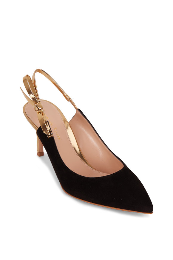 Gianvito Rossi Caterina Black Suede & Gold Bow Slingback, 70mm