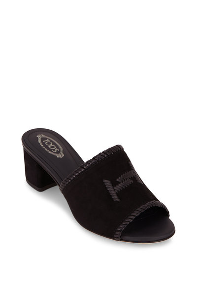 Tod's - Black Suede Woven Double-T Mule, 50mm