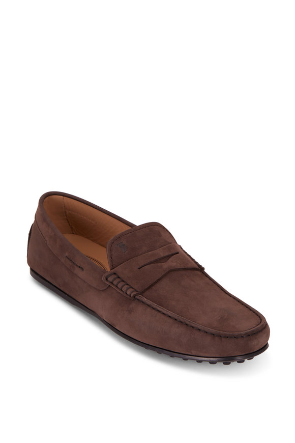 Tod's City Gommini Medium Brown Suede Penny Driver