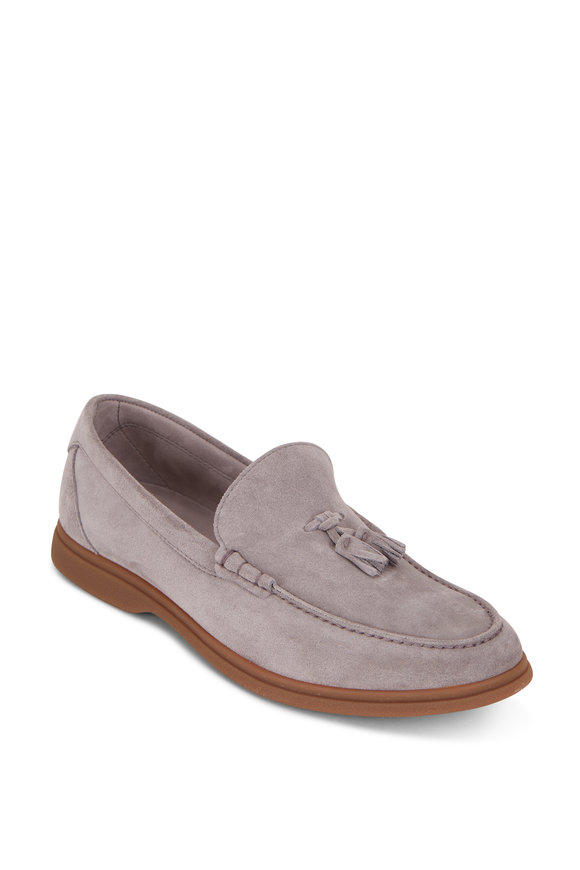 Brunello Cucinelli Light Gray Suede Tassel Loafer