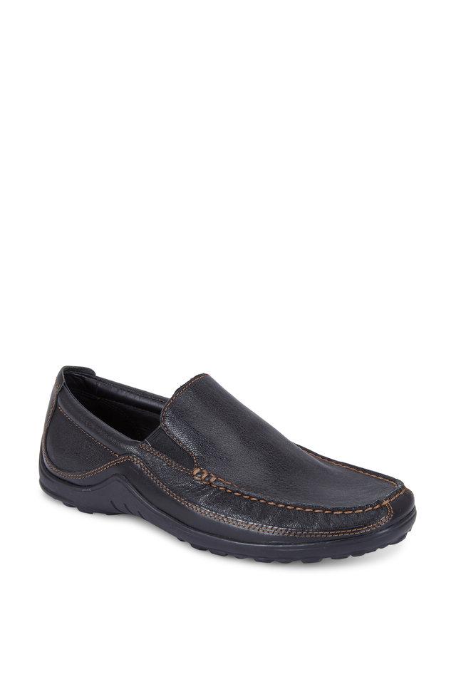 Tucker Black Leather Venetian Loafer