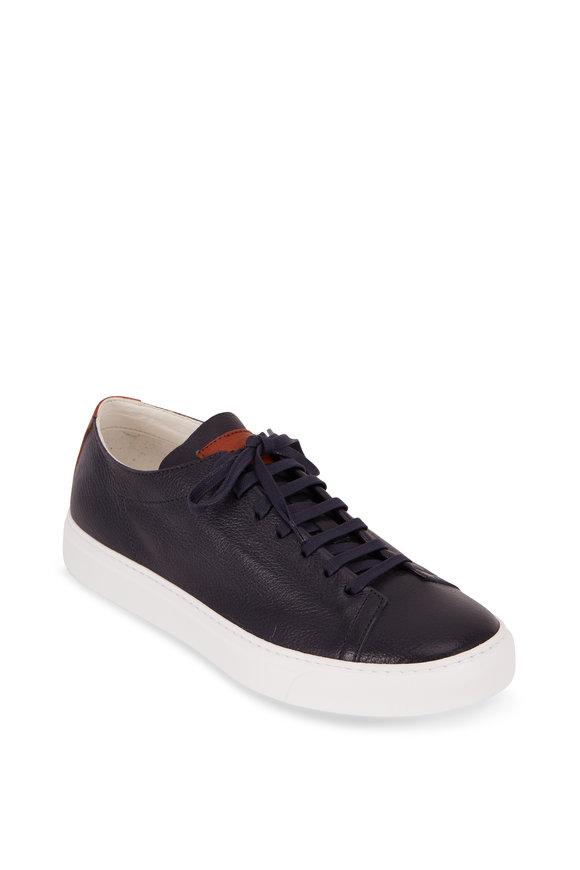 To Boot New York Ferrara Navy Blue Deerskin Low-Top Sneaker