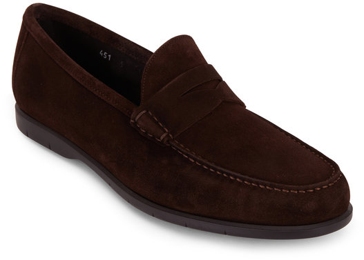 To Boot New York Tribeca Dark Brown Suede Penny Loafer
