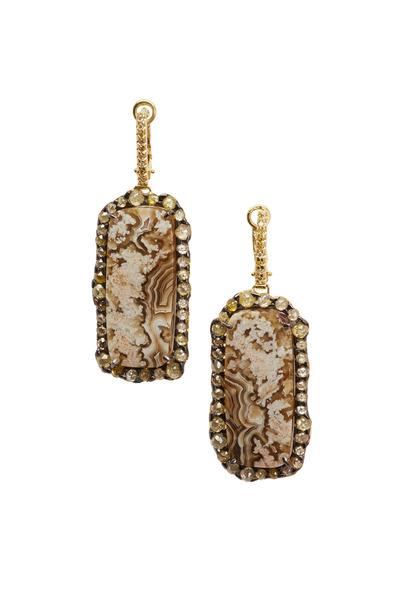 Kimberly McDonald - Yellow Gold Agate & Yellow Diamond Dangle Earrings