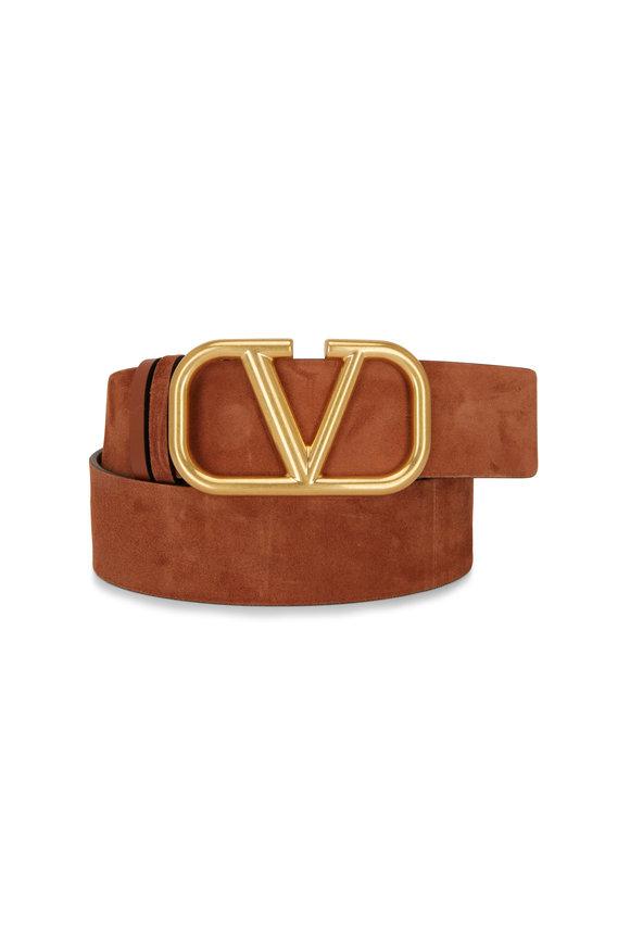 Valentino Garavani VLogo Brown Suede & Leather Logo Reversible Belt