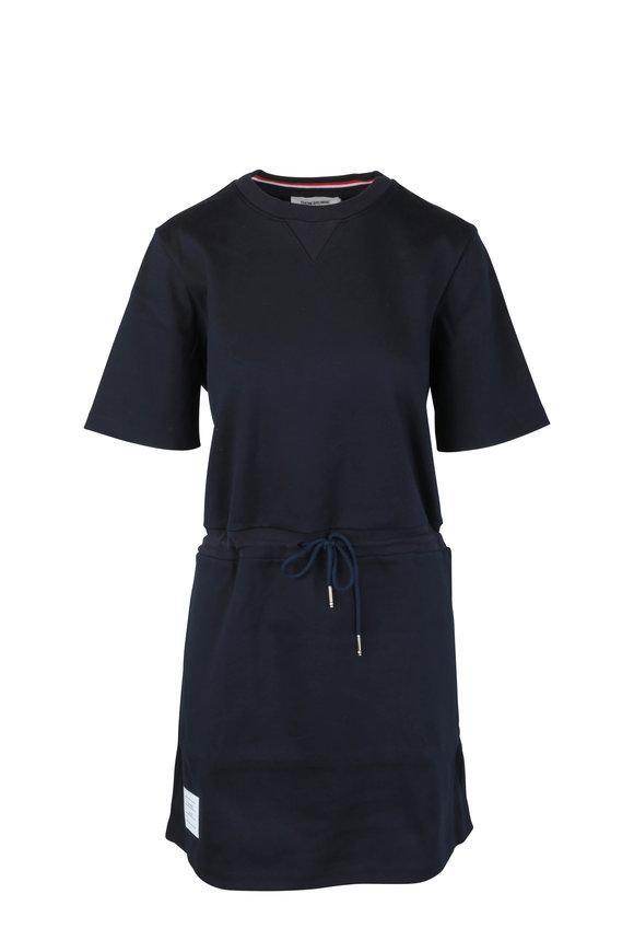 Thom Browne Navy Blue Drawstring T-Shirt Dress