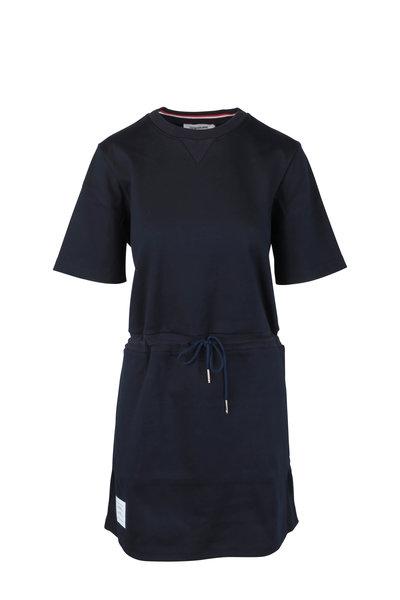 Thom Browne - Navy Blue Drawstring T-Shirt Dress