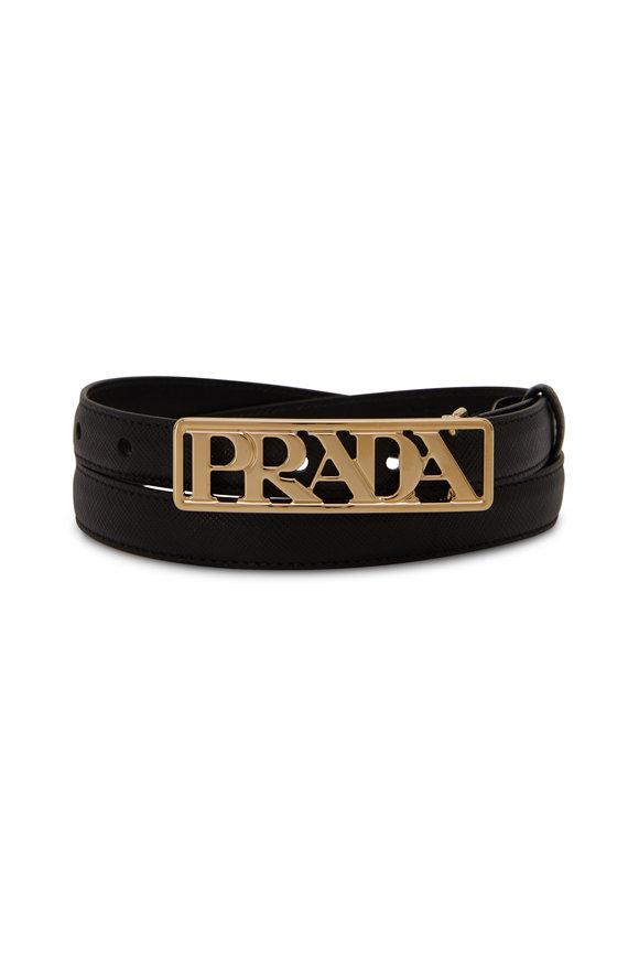 Prada Black Saffiano Gold Logo Waist Belt