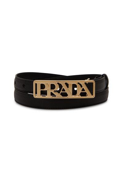 Prada - Black Saffiano Gold Logo Waist Belt