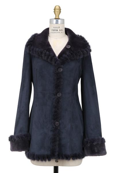Viktoria Stass - Winter Mist Shearling With Mink Trim Coat
