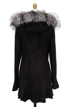 Viktoria Stass - Black Shearling & Fox Fur Hooded Coat
