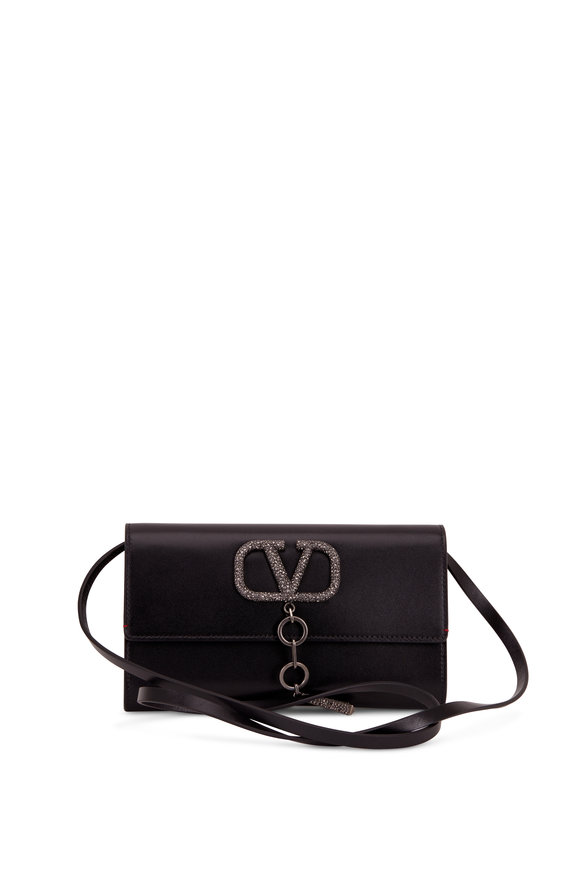 Valentino Garavani VCase Black Leather Crystal Embellished Clutch