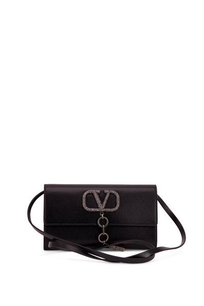 Valentino Garavani - VCase Black Leather Crystal Embellished Clutch