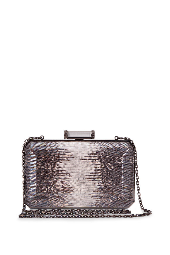 Judith Leiber Couture Soho Gray Snakeskin Crystal Detail Clutch
