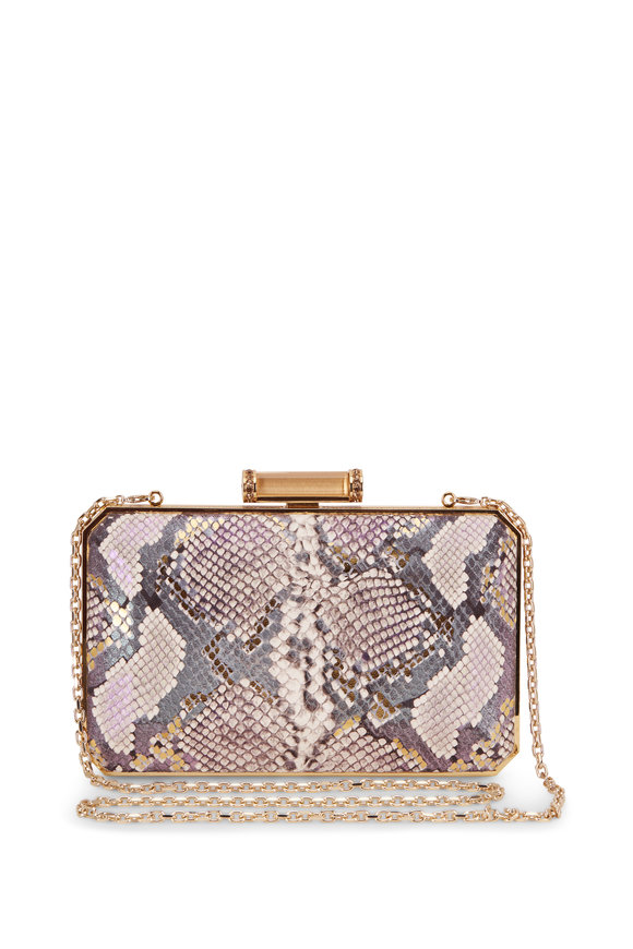Judith Leiber Couture Soho Natural & Green Snakeskin Crystal Clutch