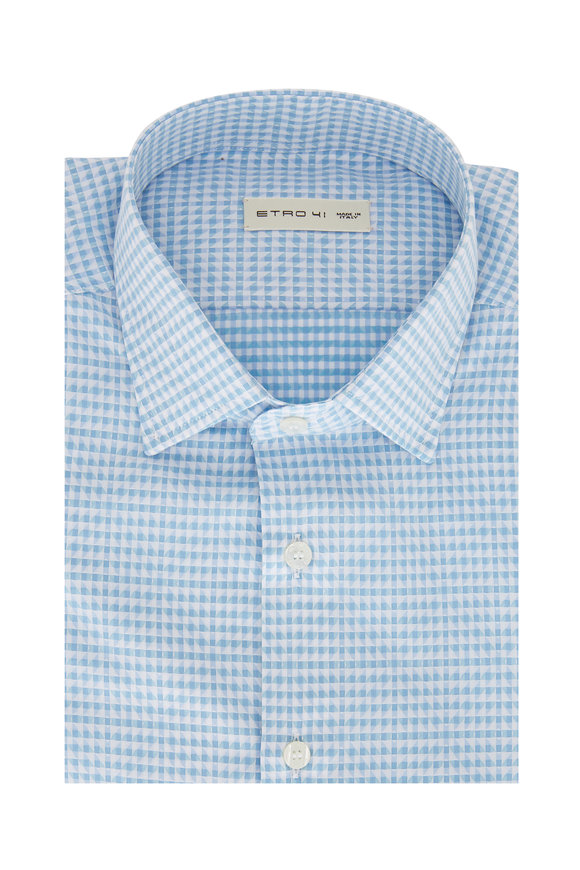 Etro Light Blue Geometric Sport Shirt