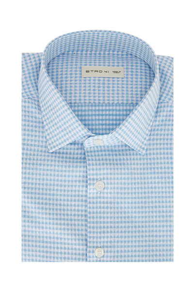 Etro - Light Blue Geometric Sport Shirt