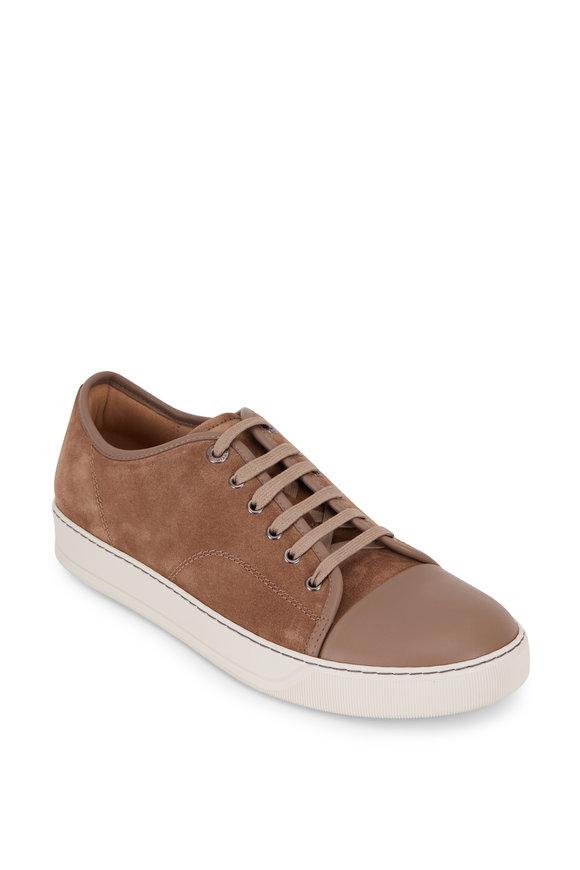Lanvin Beige Suede & Leather Cap-Toe Sneaker