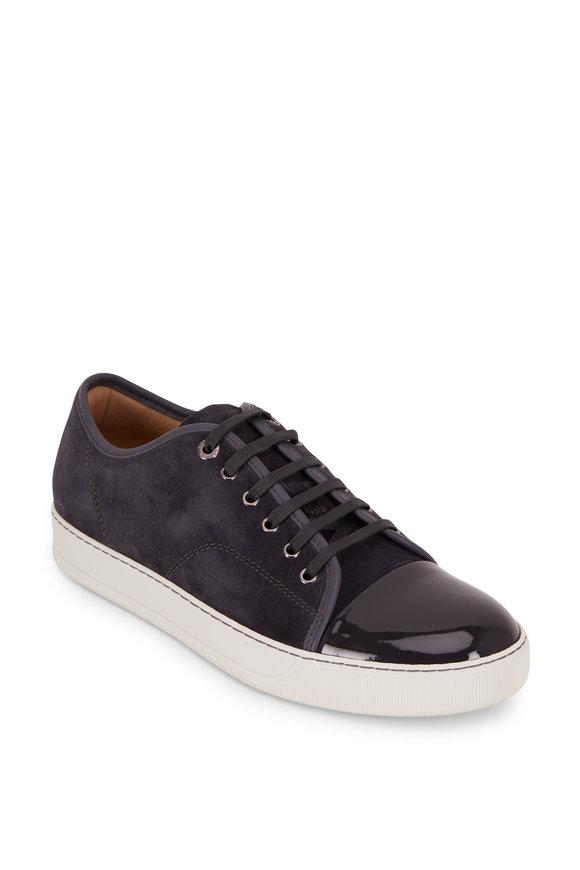 Lanvin Elephant Gray Suede & Leather Cap-Toe Sneaker