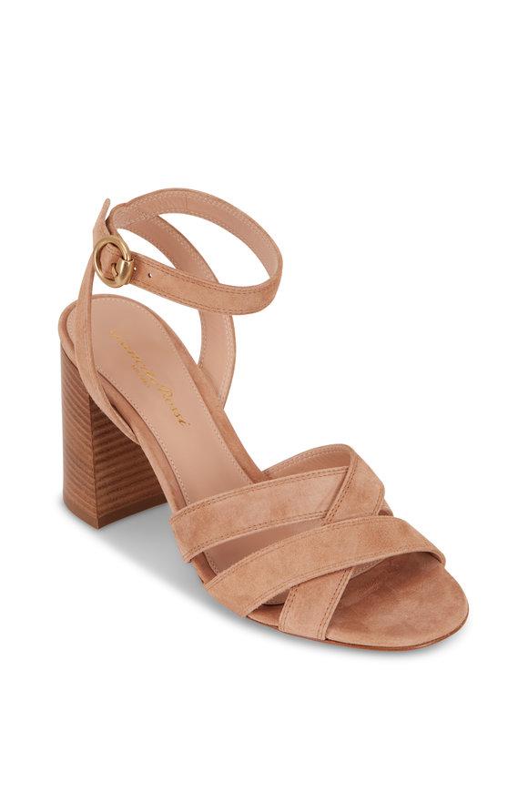 Gianvito Rossi Beya Tan Sahara Suede Strappy Sandal, 85mm