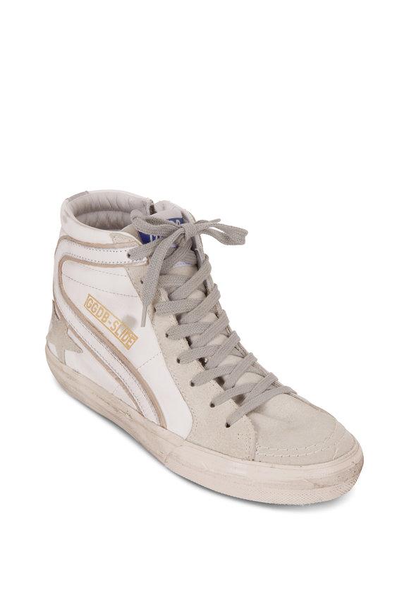 Golden Goose Slide White & Gray Leather High Top Sneaker