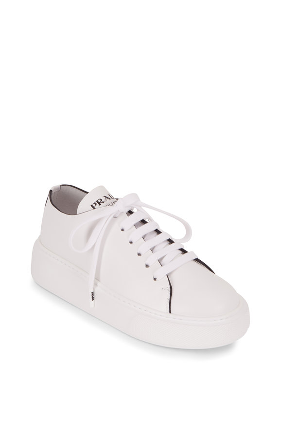 Prada Bianco Vitello Leather Lace-Up Wedge Sneaker