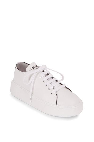Prada - Bianco Vitello Leather Lace-Up Wedge Sneaker