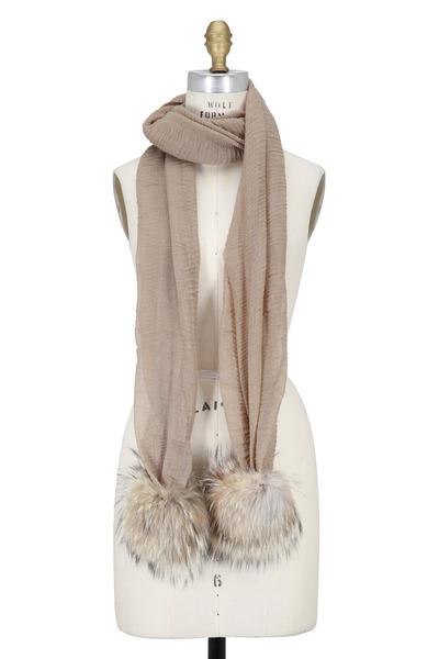 Viktoria Stass - Beige Crinkle Cotton & Fur Pom Pom Scarf