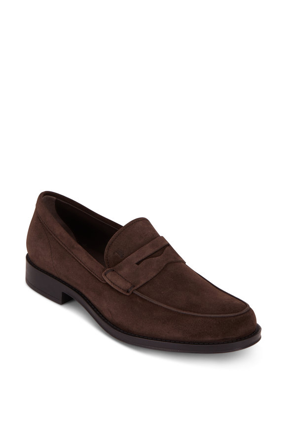 Tod's Gomma Classico Brown Suede Penny Loafer