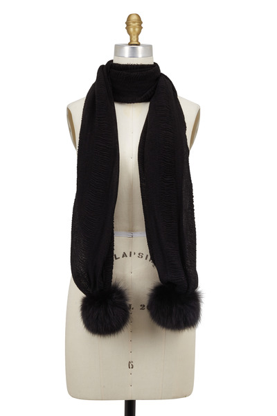 Viktoria Stass - Black Crinkle Cotton & Fur Pom Pom Scarf